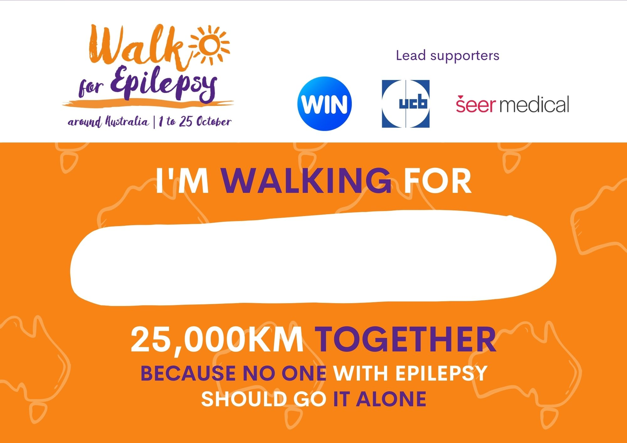 Walk for Epilepsy Bib - Orange